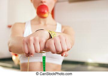 handcuffed, femme, -, régime, bâillonné