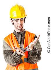 Handcuffed foreman