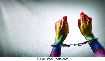 handcuffed, räcker, -, denunciation