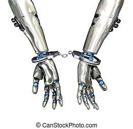 Handcuffed Robot - Cyber Crime - Handcuffs on a robot,...