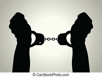 Handcuffed - Silhouette illustration of human hands...