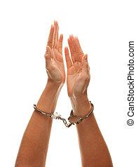 Handcuffed Woman Raising Hands in Air on White - Handcuffed...