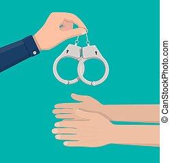 handcuffs., 現代, 金属