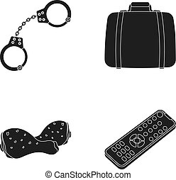 Handcuffs, a suitcase and other web icon in black style.a...