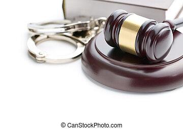 handcuffs and judge gavel