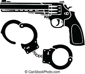 handcuffs and pistol. stencils. vector illustration