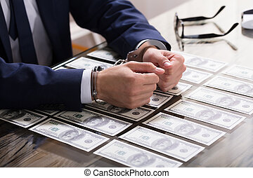 handcuffs, arresteerde, businessperson, steekpenning