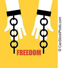 handcuffs., cadena, roto, freedom., liberación, slavery., fetters.