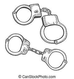 Handcuffs Engraving vintage