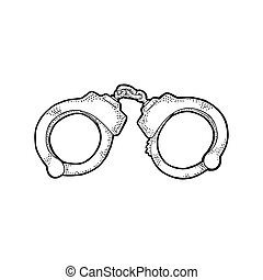 Handcuffs. Engraving vintage vector black illustration.