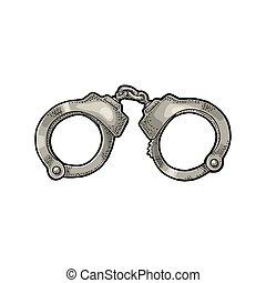 Handcuffs. Engraving vintage vector color illustration.