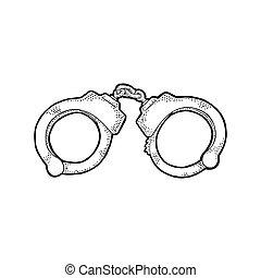 Handcuffs. Engraving vintage vector black illustration.