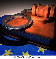 Handcuffs, gavel and book over EU flag