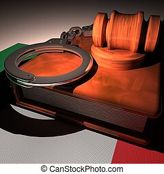 Handcuffs, gavel and book over Italy flag