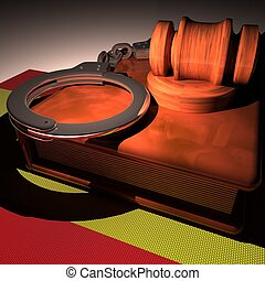 Handcuffs, gavel and book over Spain flag