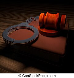 Handcuffs, gavel and book