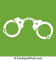 Handcuffs icon white isolated on green background. Vector illustration
