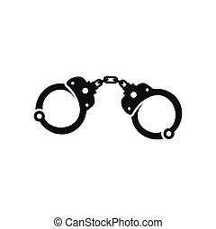 Handcuffs icon in simple style - icon in simple style on a...