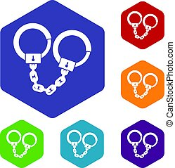 Handcuffs icons set hexagon