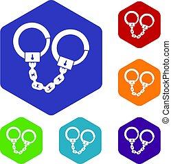 Handcuffs icons set hexagon