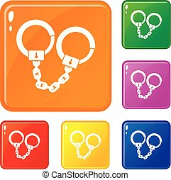 Handcuffs icons set vector color
