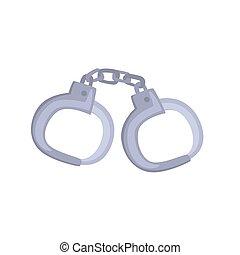 handcuffs, illustratie, metalen, vector, paar, spotprent
