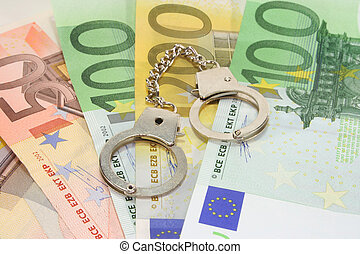 handcuffs on euro notes