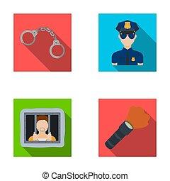 Handcuffs, policeman, prisoner, flashlight.Police set collection icons in flat style raster, bitmap symbol stock illustration web.