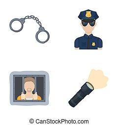 Handcuffs, policeman, prisoner, flashlight.Police set collection icons in cartoon style raster,bitmap symbol stock illustration web.