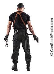 handcuffs, politie, geweer, officier