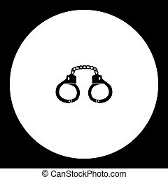 handcuffs shackles simple silhouette black icon eps10