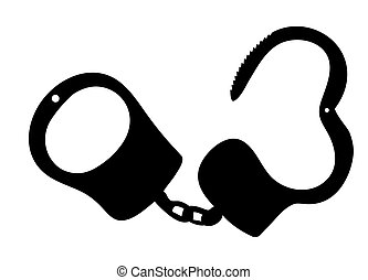 handcuffs silhouettes vector illustration on white...