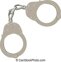 Standard steel handcuffs to restrict freedom. Vector illustration.
