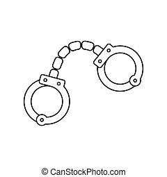 Handcuffs thin line icon