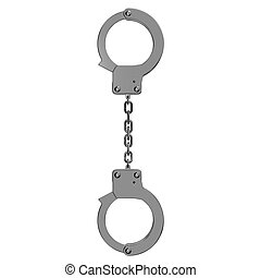 Handcuffs Top View. 3D render illustration. Isolated on...