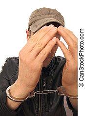 handcuffs, voorkant, zijn, man confronteren