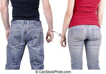 handcuffs., vrouw, man, handen