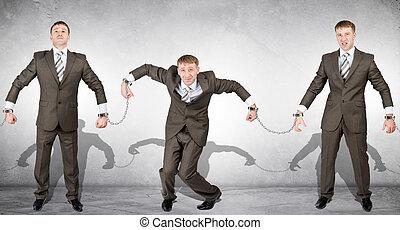 Handcuffs, white collar crime, arrest.