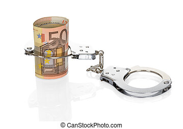 Handcuffs With Euro Notes