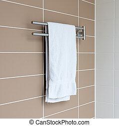 handdoekring, in, een, moderne, badkamer