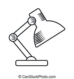 handdraw icon table lamp - Handdraw sketch table lamp icon....