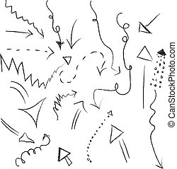 Handdrawing arrows, illustration, vector on white background.