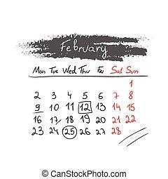 handdrawn, カレンダー, 2 月, vector., 2015.