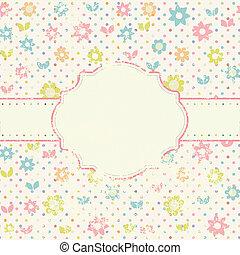 handdrawn, 型, 花, 花, カード