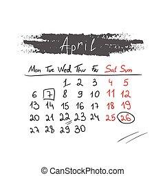 handdrawn, 4 月, カレンダー, vector., 2015.