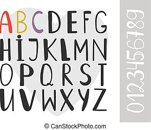 Handdrawn alphabet font