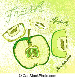Handdrawn apple