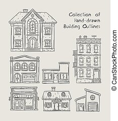Handdrawn buildings set