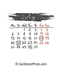 handdrawn, calendário, julho, vector., 2015.