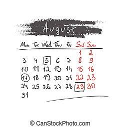 handdrawn, calendario, agosto, vector., 2015.